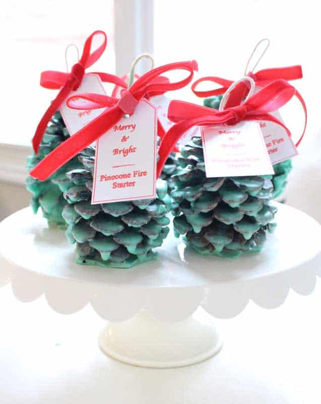 easy Christmas crafts: pinecone fire starters