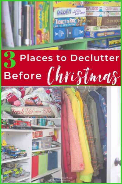 3 Places to Purge before the Christmas gifts pour in! #declutteringtips #declutter #howtoorganizeforChristmas #decreaseholidaystress #declutterandorganizeforchristmas #declutteringideasfeelingoverwhelmed #stress #overwhelm #organize