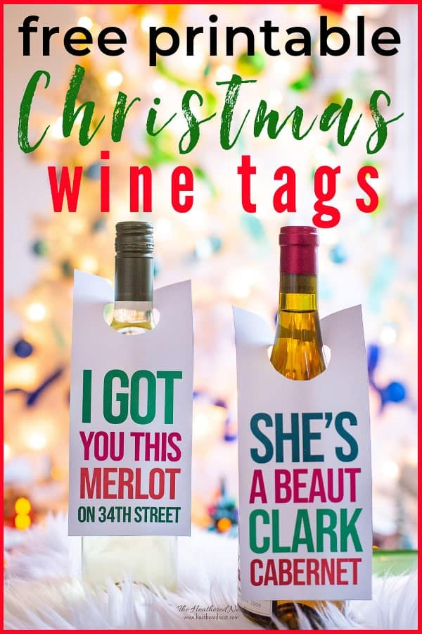 Free printable gift tags for your gift of wine this Christmas! Great hostess gift for holiday parties! #Christmasgiftideas #Christmasprintables #winetag #winelabel #freeprintableschristmas #winegift #freeprintable #gifttags #freegifttags #christmasvacation #clarkgriswold #miracleon34thstreet #christmasmoviequotegifts