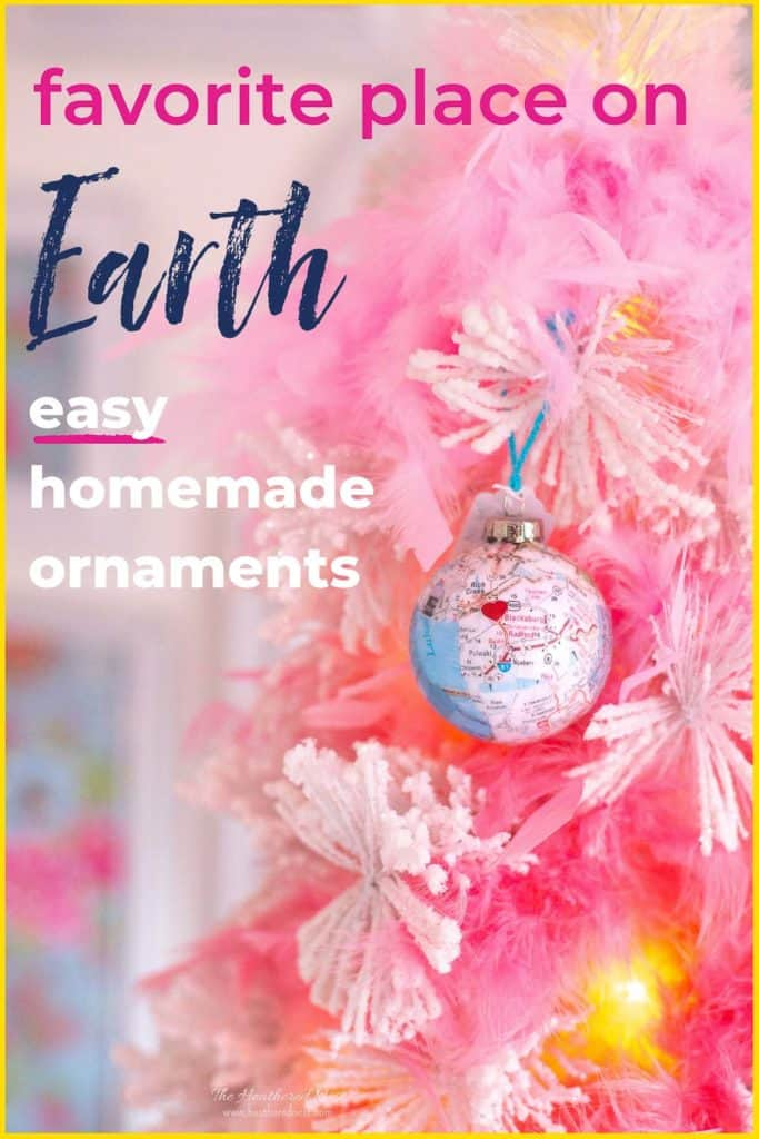 Map Homemade Christmas Ornaments are easy to make (but no one will guess-shhh!). Mark a hometown or other special place & give your loved one the world. #Christmas #ChristmasOrnaments #maps #ornaments #DIYornaments #DIYChristmasOrnaments #ChristmasOrnamentIdeas #mapornaments #mapcrafts #ornamentideas