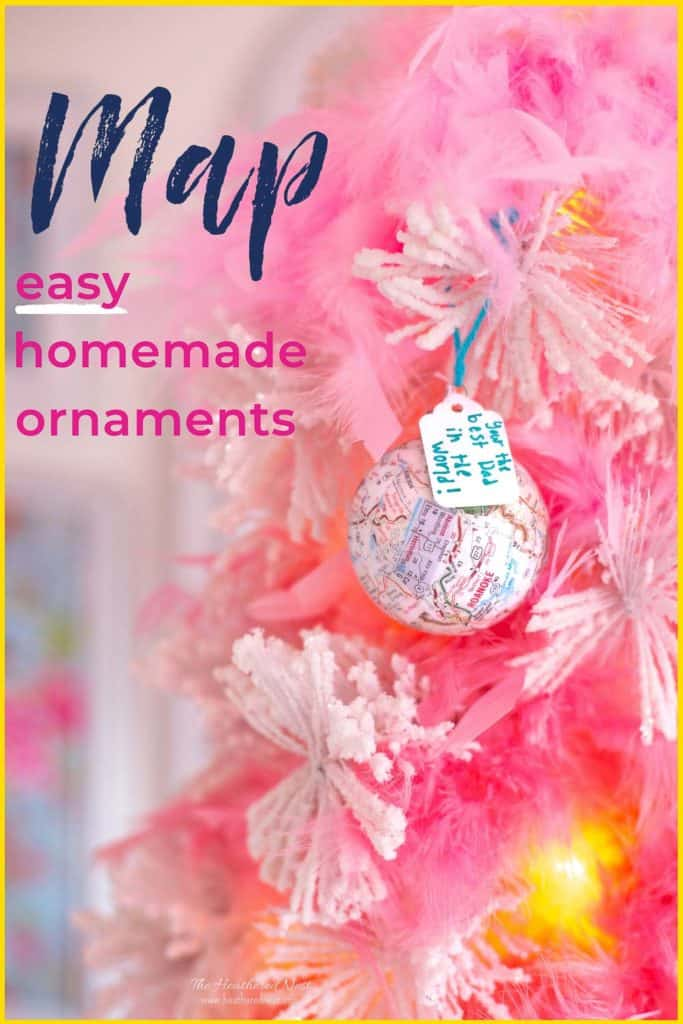 "DIY Map Ornament with tag ""you're the best dad in the WORLD!"" hung on white Christmas tree, text ""map easy homemade ornaments"""