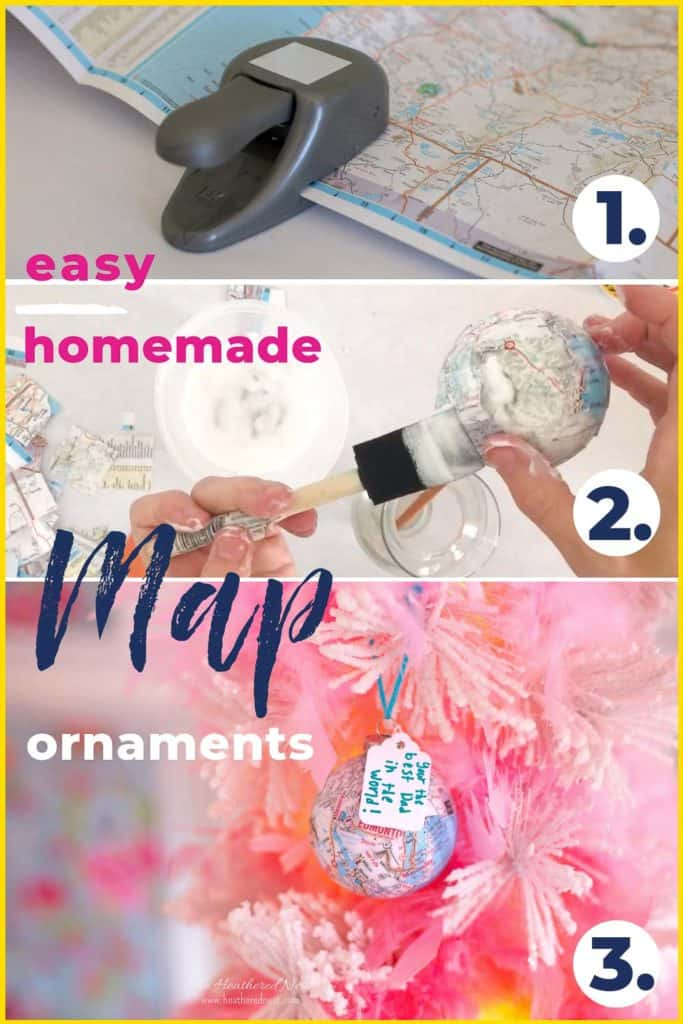 Easy, Homemade Map Ornaments showing 3 step process