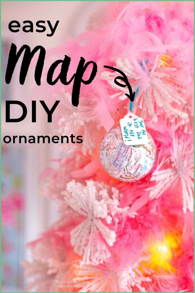 """DIY Map Ornament with tag """"you're the best dad in the WORLD!"""" hung on white Christmas tree, text """"map easy homemade ornaments"""""""