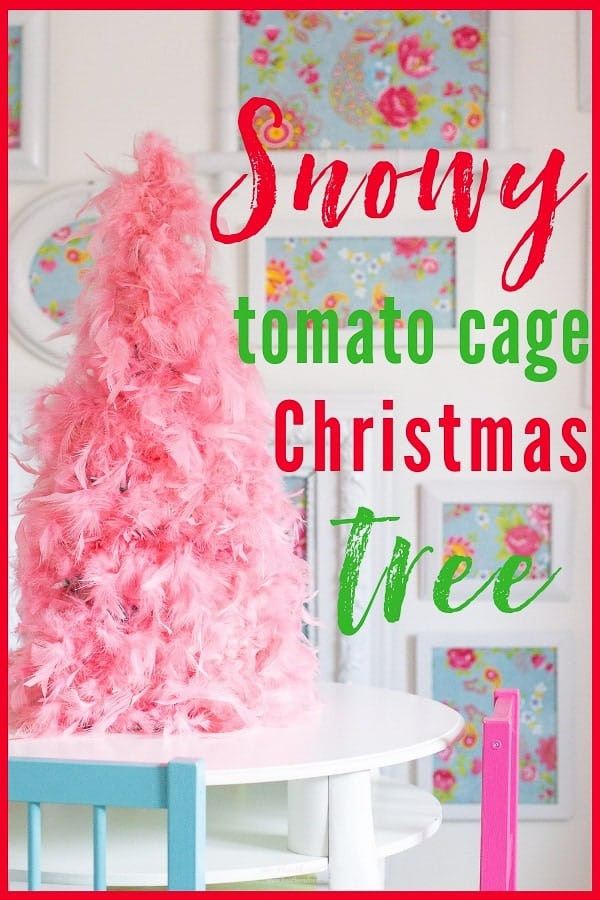 This snowy DIY tomato cage Christmas tree takes 15-20 min to make, & adds a cozy wintery glow to your home for the holidays! #tomatocagechristmastree #DIYchristmastree ##DIYChristmasdecor #snowychristmastree #howtomakeatomatocagechristmastree #christmas #christmascraftideas #sprayadhesive #GorillaGlue #GorillaTough #ad