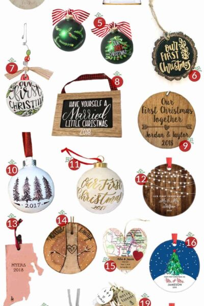 "20 ""our first christmas"" ornament ideas that are classy & NOT cheesy! #ourfirstchristmasornament #ourfirstchristmasornaments #ourfirstchristmas #our1stchristmas #marriedcoupleornaments #ourfirstchristmasasmrandmrs #ourfirstchristmasornamentnewlyweds"