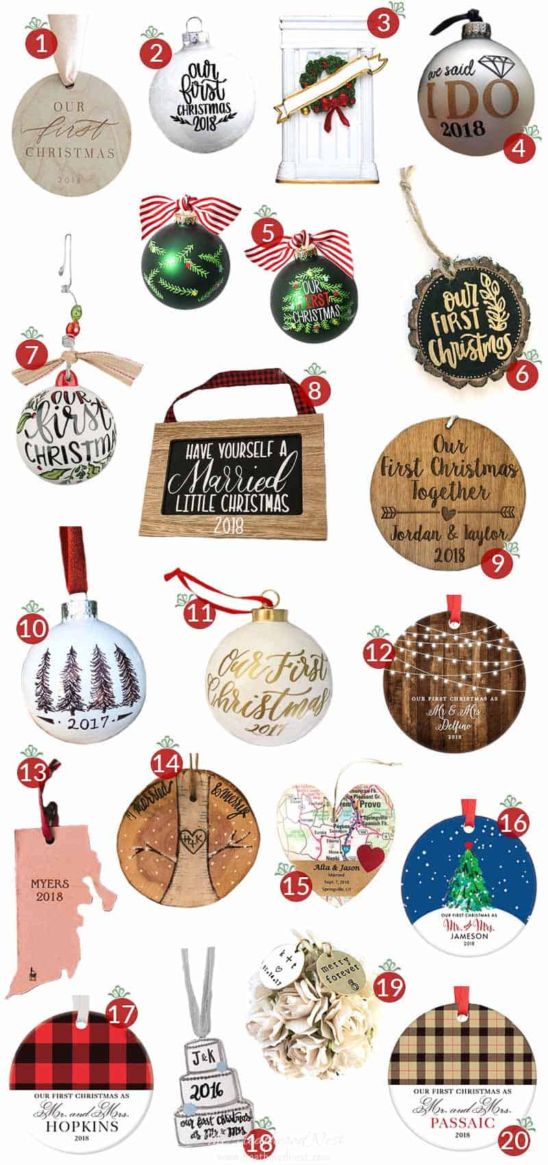 """20 """"our first christmas"""" ornament ideas that are classy & NOT cheesy! #ourfirstchristmasornament #ourfirstchristmasornaments #ourfirstchristmas #our1stchristmas #marriedcoupleornaments #ourfirstchristmasasmrandmrs #ourfirstchristmasornamentnewlyweds"""
