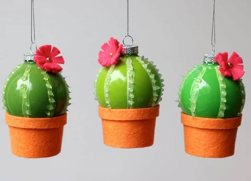 planted cacti felt Christmas ornaments