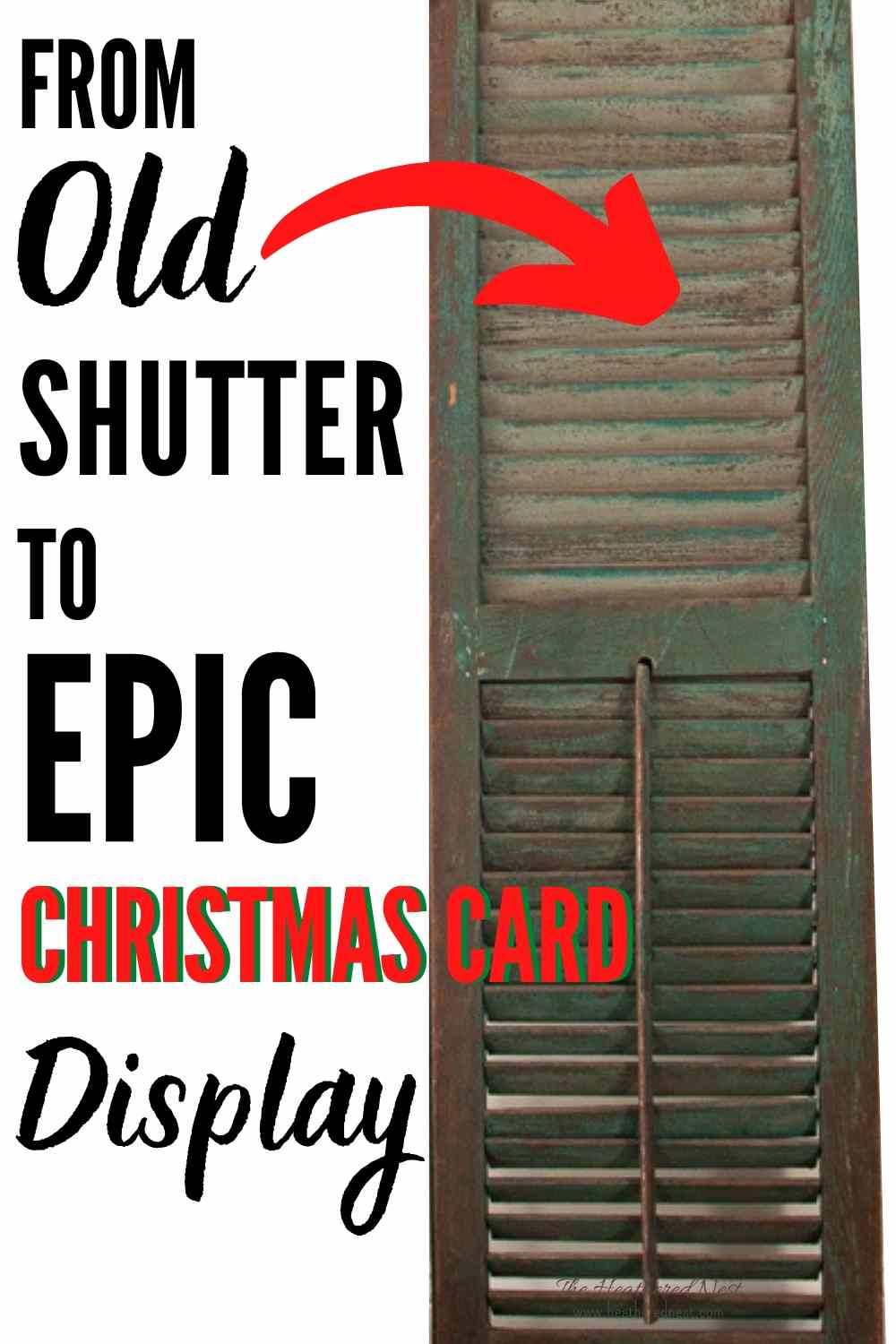 Make an easy DIY Christmas card holder using an upcycled vintage shutter! It only takes about 20-minutes to complete.