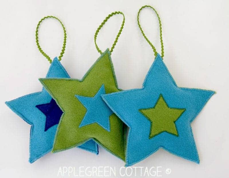 blue and green stars felt Christmas ornaments