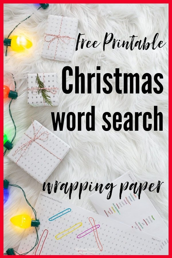 christmas word search free printable wrapping paper the heathered nest