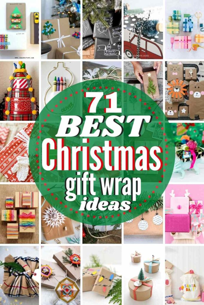"""text: """"71 Best Christmas gift wrap ideas"""" with grid of approx. 20 Christmas gift wrapping variations/ideas"""