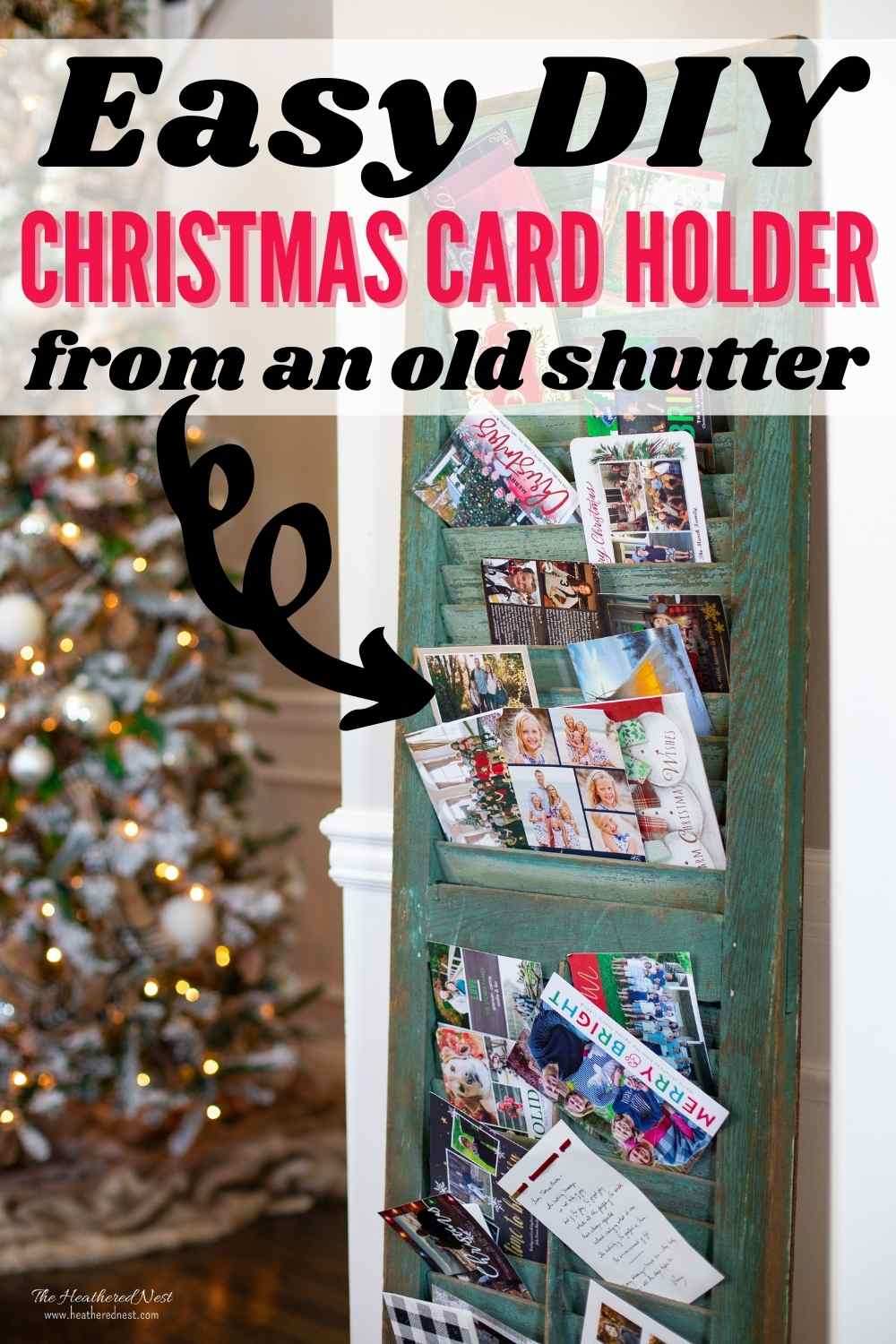 DIY Christmas Card Display Holder from a Vintage Shutter