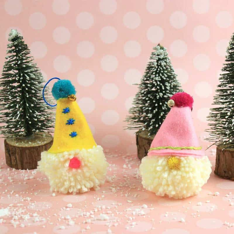 fuzzy gnome pom pom felt Christmas ornaments