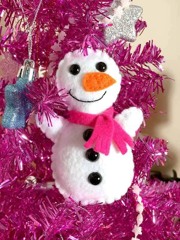 snowman felt Christmas ornaments