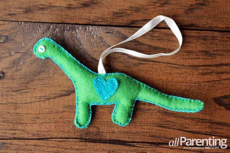 green brachiosaurus with blue heart felt Christmas ornaments