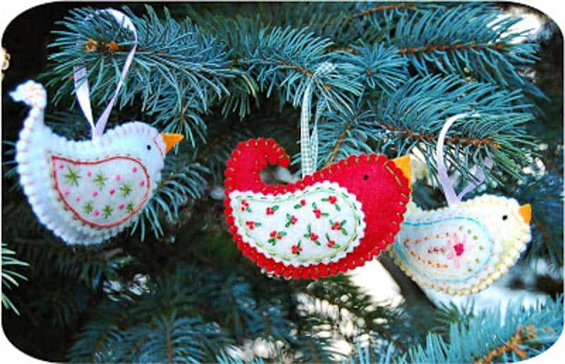 little birds felt Christmas ornaments