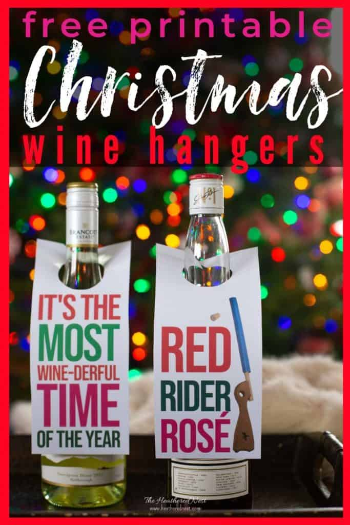 Give a festive wine gift this Christmas! Download our free printable wine hangers to tag their fave bottle of white or red. These wine tags will make a great gift even better. Perfect for a holiday hostess gift, colleagues at work, etc! #wine #winetag #winehanger #christmas #achristmasstory #winegift #freeprintable #printable #christmasfreeprintable