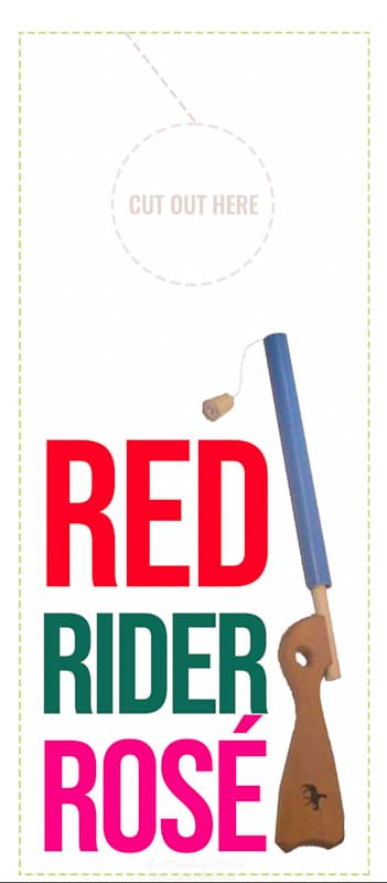 red rider rosé free printable wine gift hanger