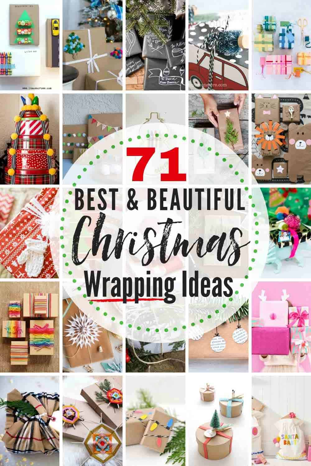 "text: ""71 Best & beautiful Christmas wrapping ideas"" with grid of approx. 20 Christmas gift wrapping variations/ideas"
