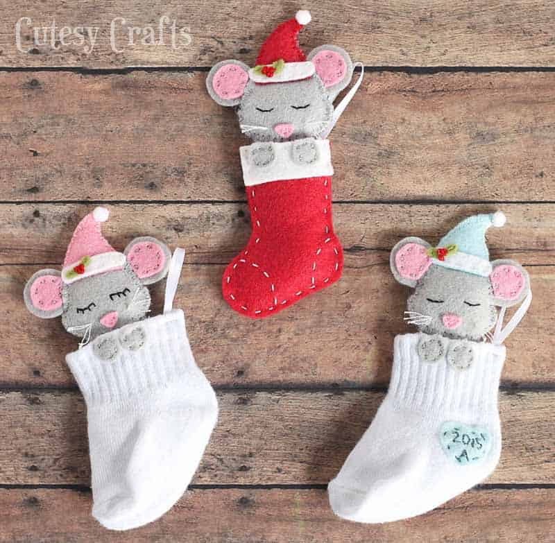 mouse in a stocking felt Christmas ornaments