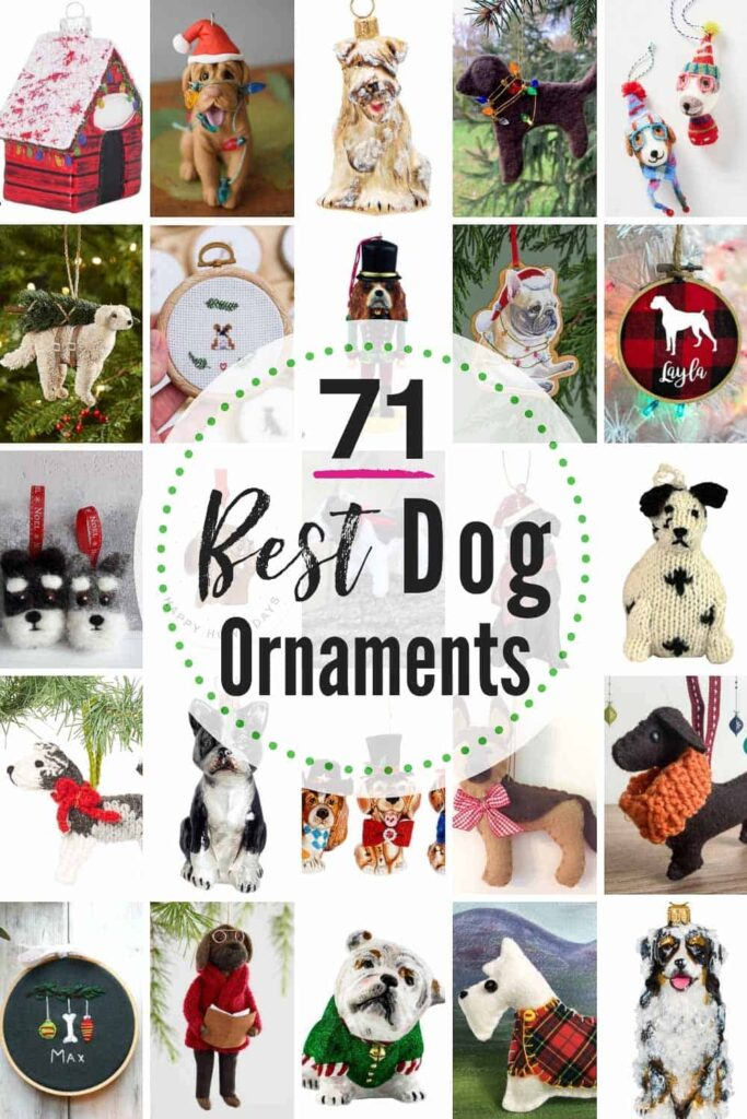 71 BEST dog ornaments to buy + 10 more options to DIY! Looking for that perfect pet ornament? We weeded through all the cheesy to find the sweetest dog ornaments (from all breeds) available. #dogornament #dogornaments #petornament #petornaments #christmasornaments #dogchristmasornaments #petgiftideas #DIYdogornaments #DIYpetornaments #DIYchristmasornamentsforpets #dogs #pets #dogchristmas #petchristmas #Christmas #ornaments #dog #pet