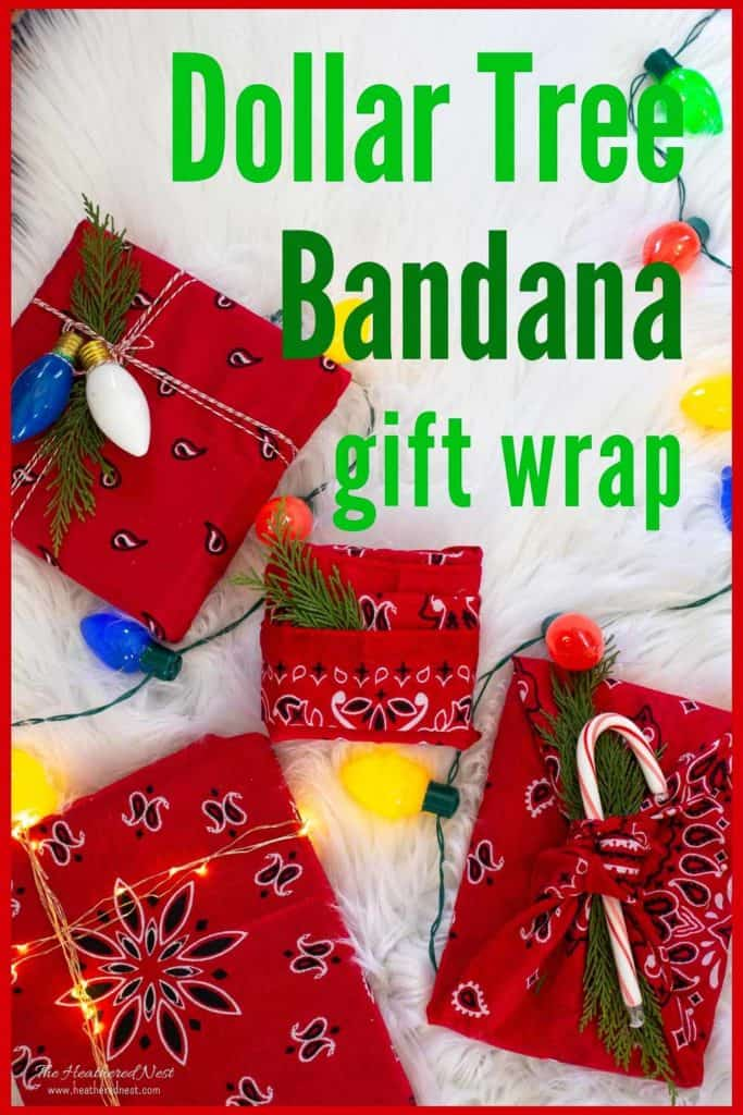 Easy, Inexpensive & Eco-Friendly Dollar Tree Bandanas Reusable Wrapping paper idea! #ecofriendlywrappingideas #reusablewrappingpaper #reusablewrapping #bandana #bandanacrafts #bandanaDIY #upcyclewrappingpaperideas #upcycle #repurposeideas #reuse