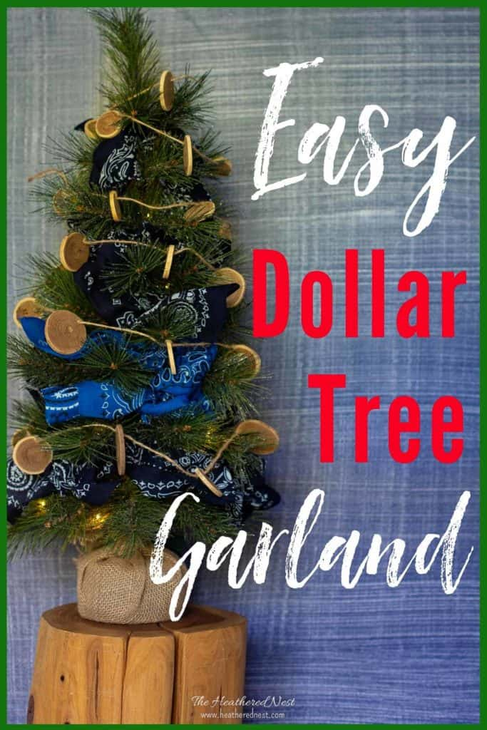Easy Dollar Tree Bandana DIY garland decoration! Try something new for garland on your Christmas tree this holiday season! Trim the tree with bandanas! You can grab different colors from the Dollar Tree! #garland #DIYgarland #christmas #christmastree #bandana #bandanaideas #bandanaprojects #DollarTree #DollarTreeDecor #DollarTreecrafts
