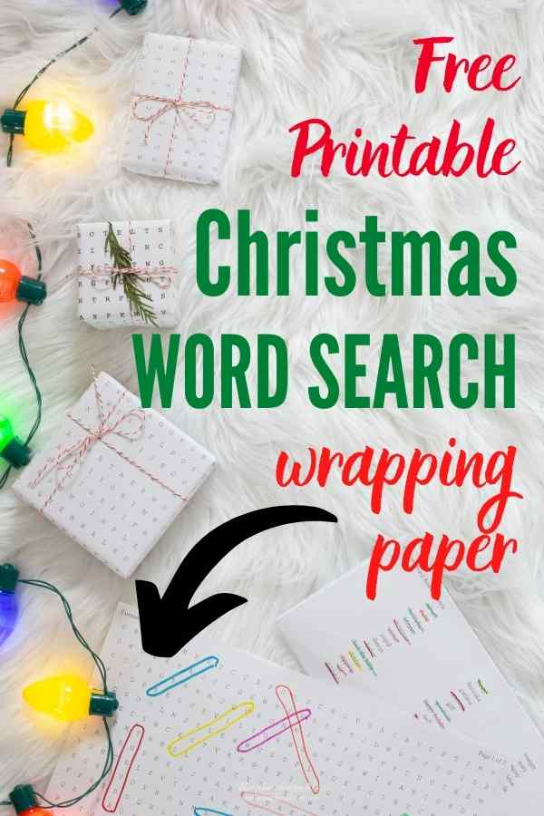 Free Printable Christmas Word Search Gift Wrap