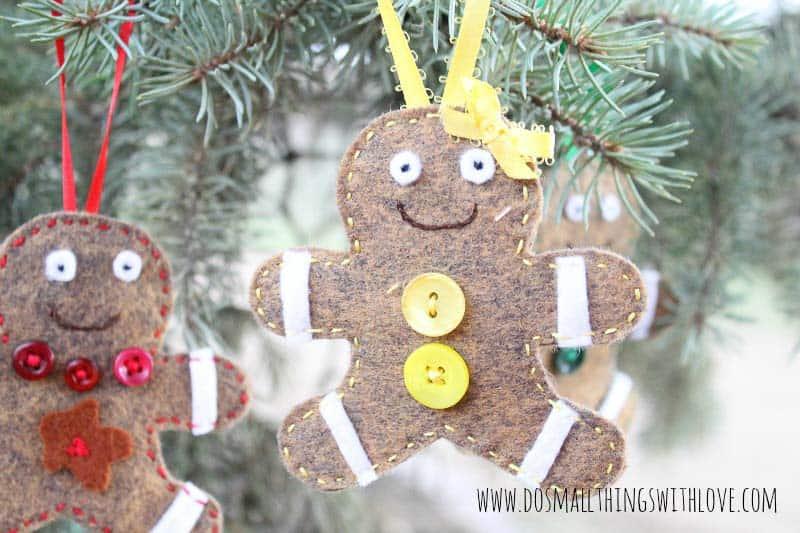 gingerbread boy and girl felt Christmas ornaments