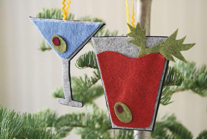 bloody mary and martini felt Christmas ornaments