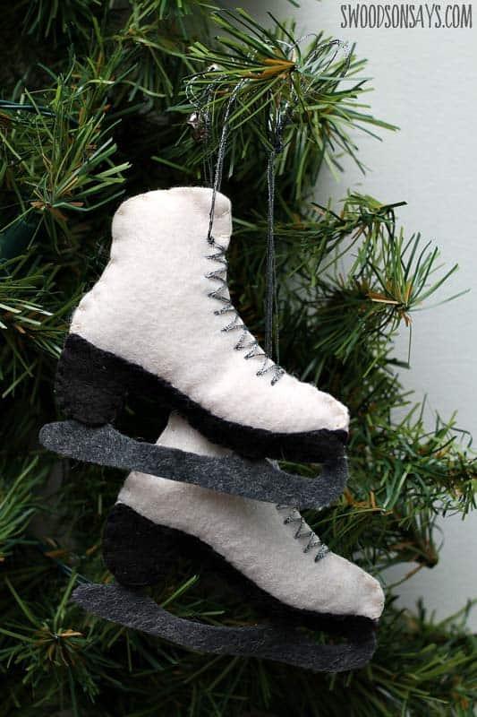 ice skates felt Christmas ornaments