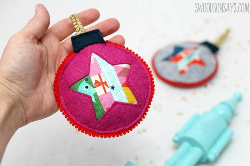 quilted star felt Christmas ornaments