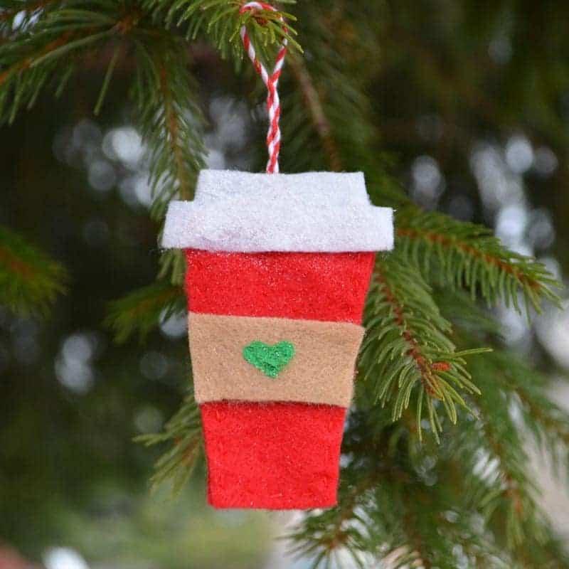 coffee cup felt Christmas ornament