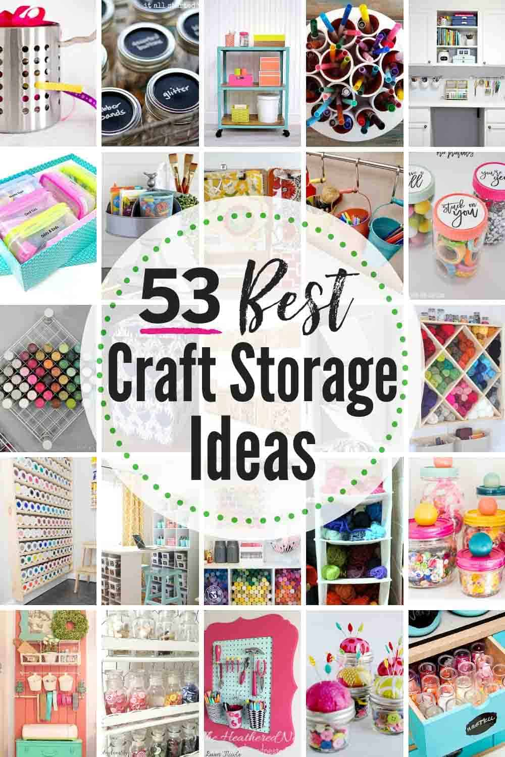 53 Best Creative Craft Storage Ideas! Get those crafting supplies organized in a flash with these great DIY organization hacks! #craft #crafting #craftstorageideas #craftorganizationideas #craftroomorganization #craftroomorganizationideas