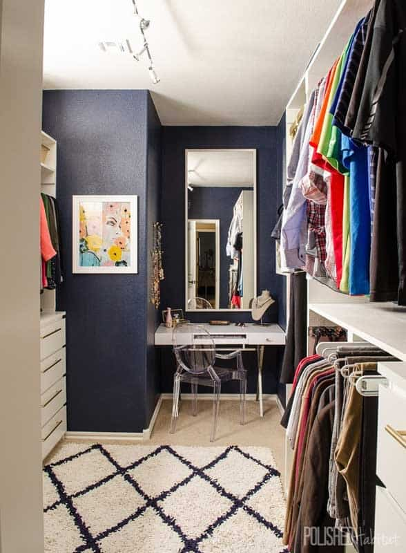 Closet Organizer Ideas: Go glam! Valet hooks, space dividers and pant racks that move in and out make this closet beautiful and functional