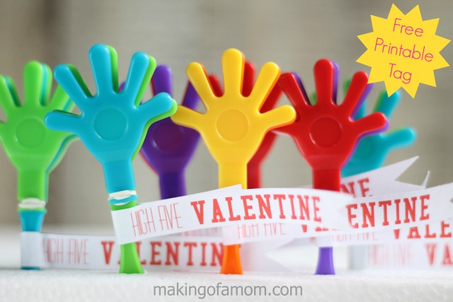 """BEST *Non-Candy* Free Printable Valentines Day Card Ideas for Kids: clappy hand toy """"high five valentine"""" printable"""