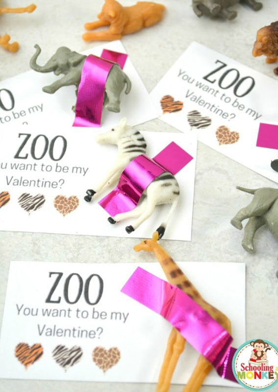"""valentines day card ideas:  zoo animal toys with printable card """"zoo you want to be my valentine"""""""