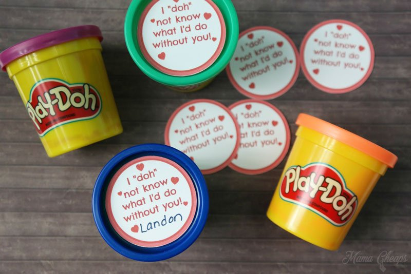 BEST *Non-Candy* Free Printable Valentines Day Card Ideas for Kids: Play-Doh valentines