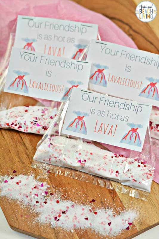 """valentines day card ideas: """"our friendship is hot as lava"""" to accompany volcano experiment gift"""