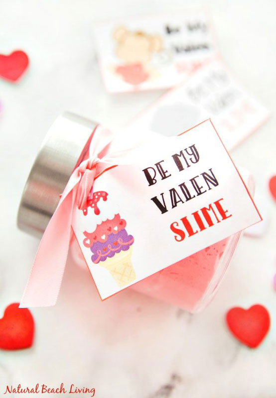 """valentines day card ideas: slime with card """"be my valen-slime"""""""