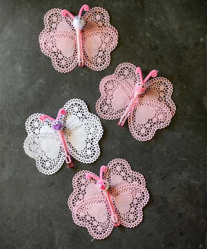 valentines day card ideas: paper doily butterflies with bubble container body