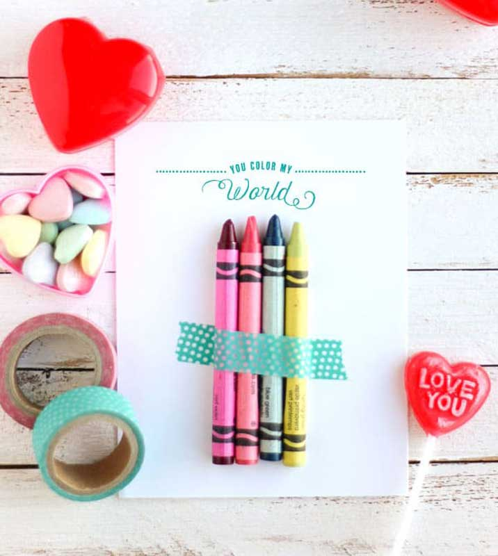 """valentines day card ideas: crayons washi taped to printable card """"you color my world"""""""