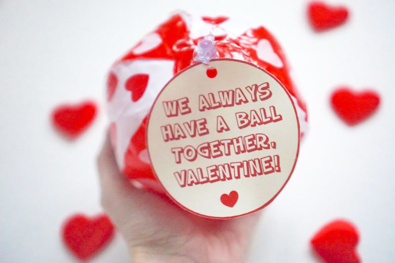 """valentines day card ideas: beach ball with printable """"we always have a ball together valentine"""""""