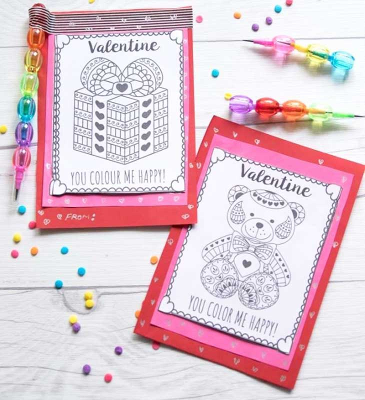 valentines day card ideas: free coloring page printables