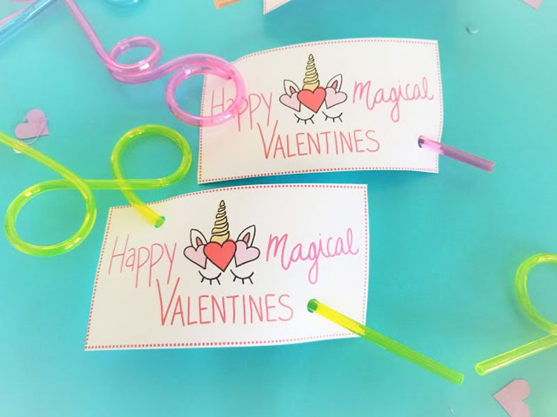 """valentines day card ideas: unicorn printable """"happy magical valentines"""" gifted with crazy straws"""