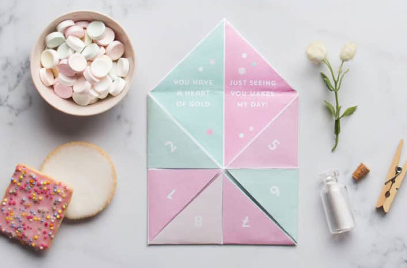 valentines day card ideas: printable fortune teller game