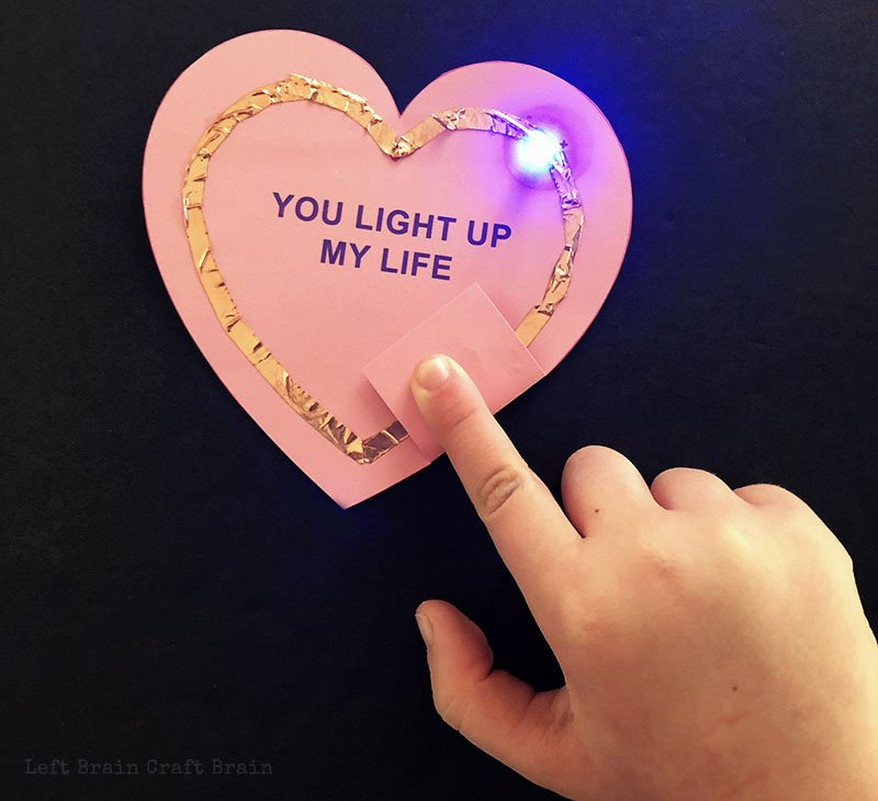 valentines day card ideas: you light up my life with light up effect on paper heart