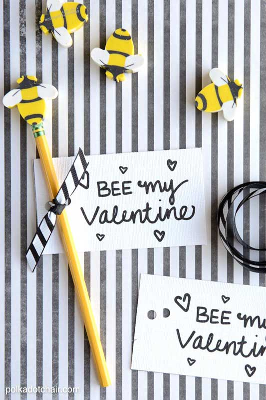 """BEST *Non-Candy* Free Printable Valentines Day Card Ideas for Kids: bee erasers """"Bee my valentine"""" printables"""
