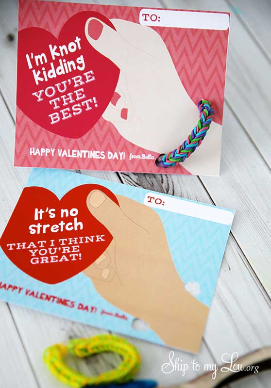 """BEST *Non-Candy* Free Printable Valentines Day Card Ideas for Kids: """"I'm knot kidding, you're the best"""" and """"it's no stretch I think you're great"""" bracelet valentines"""