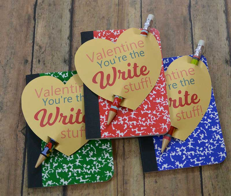 """valentines day card ideas: """"valentine, you're the write stuff"""" printables with a pencil and a mini composition book"""